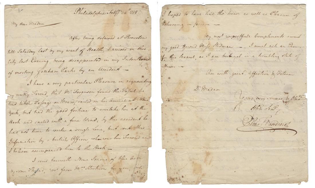 Elias Boudinot, Revolutionary War Dated ALS