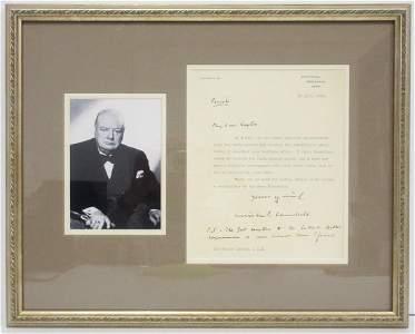 "Winston Churchill Letter, ""The Gov't Reaction to the"