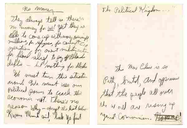 Eldridge Cleaver Autographed Draft for His Speech