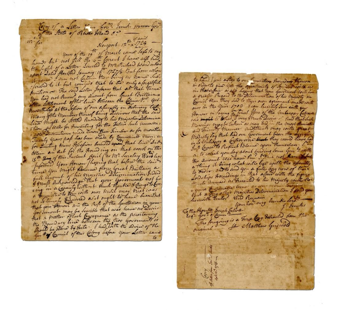 Governor Griswold 1728 Letter on Boundary Dispute
