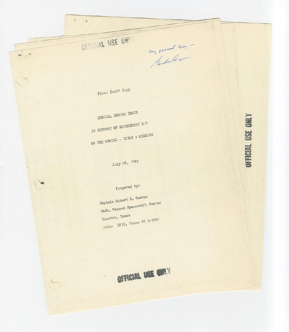 "Gordon Cooper's ""personal copy"" of Ground Tests in"