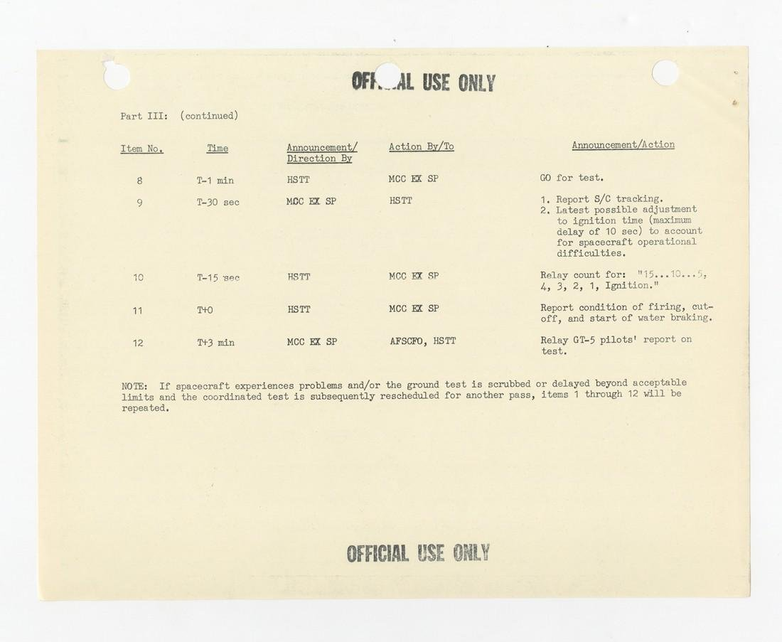 "Gordon Cooper's ""personal copy"" of Ground Tests in - 4"