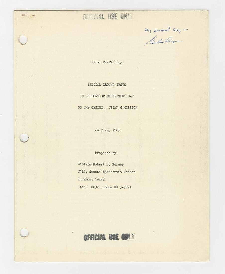 "Gordon Cooper's ""personal copy"" of Ground Tests in - 9"