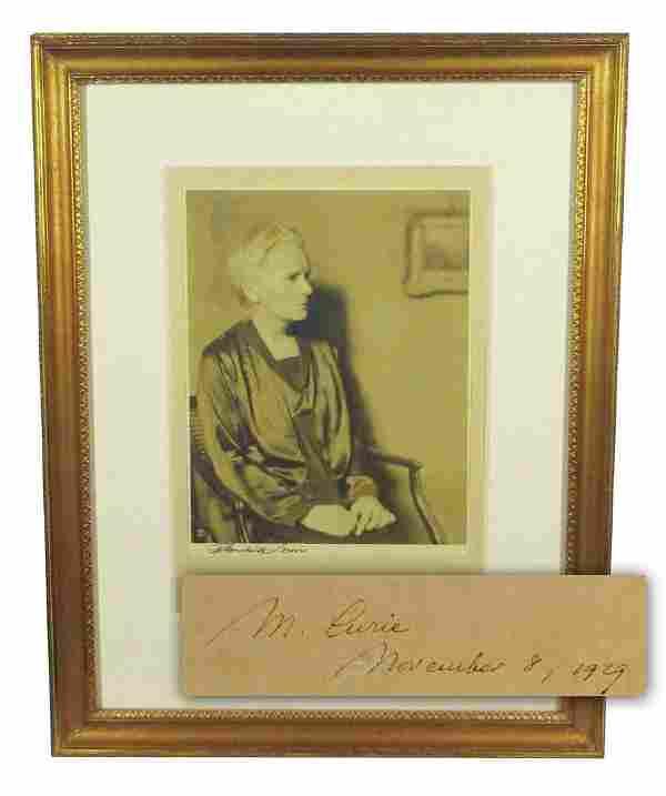 Marie Curie Rare Signed Portrait