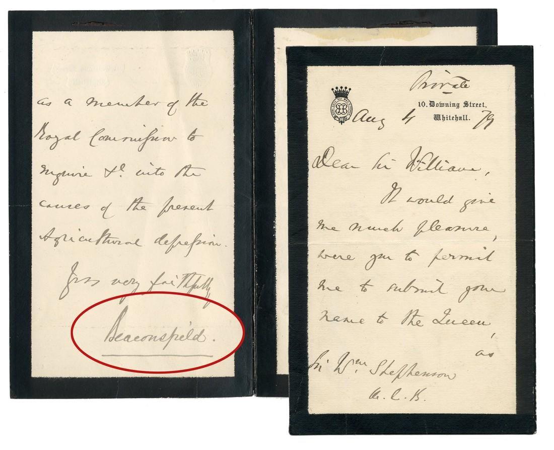 Benjamin Disraeli ALS Mentioning Queen Victoria
