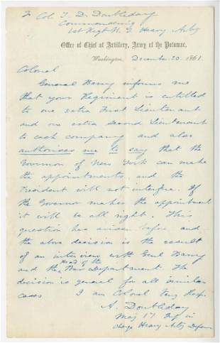 Abner Doubleday War Dated ALS with Content Referencing