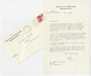 Supreme Court Justice William Douglas Signed Letter