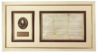 Framed Andrew Jackson as President 1830 Signed Land