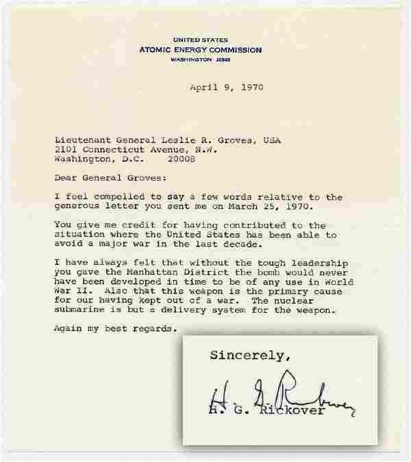 Admiral Rickover Credits General Groves & Manhattan