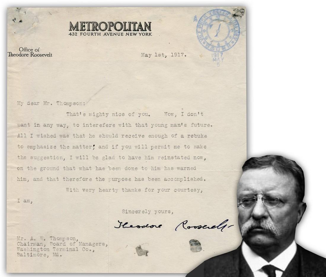 Teddy Roosevelt War Dated TLS 1 Month after U.S. Entry