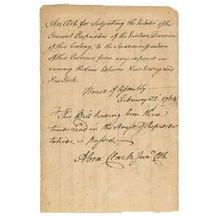 Abraham Clark Declaration Signer from NJ Signs a Bill