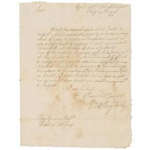 William Ellery Declaration Signer Signs a Letter