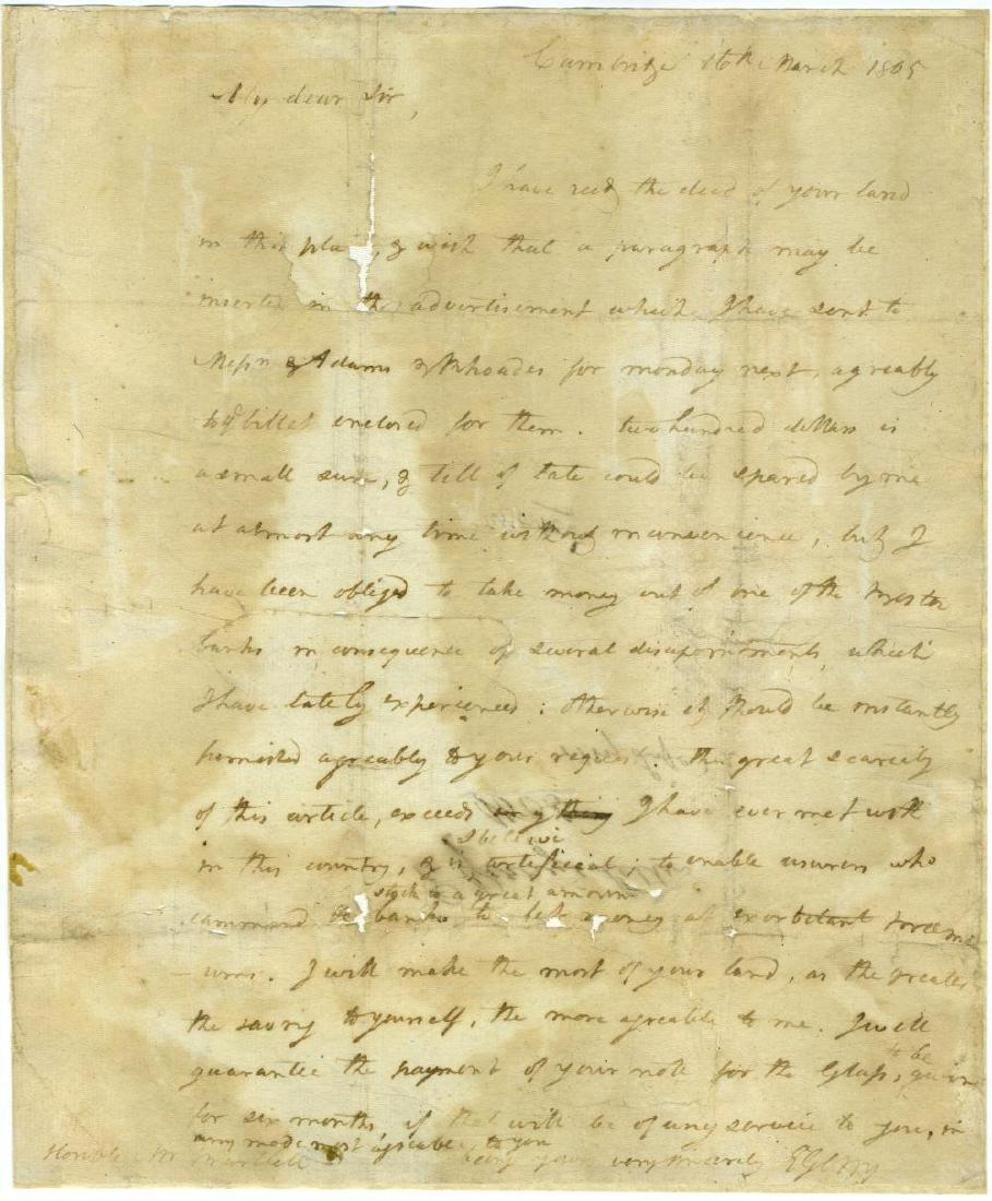 "Elbridge Gerry, Declaration Signer from MA, ALS ""I have"
