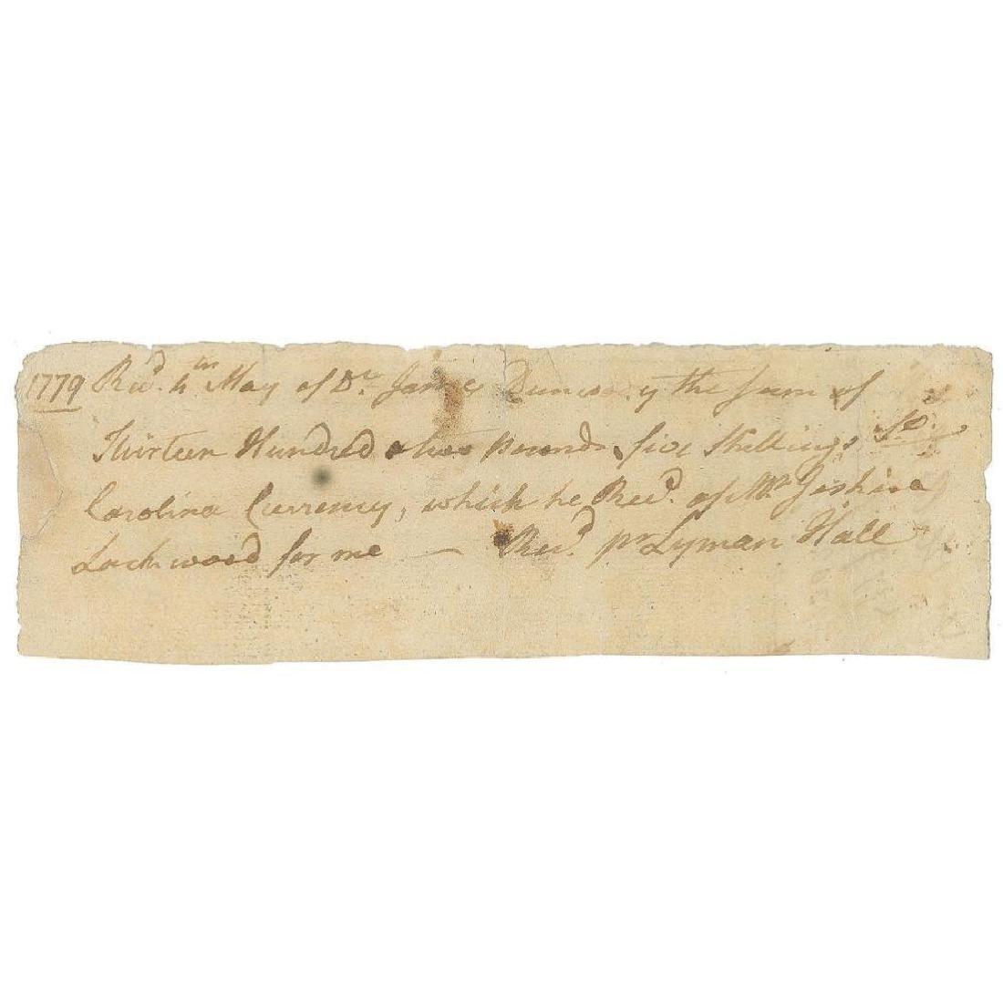 Lyman Hall, Rare Declaration Signer, Rev War-Dated ADS