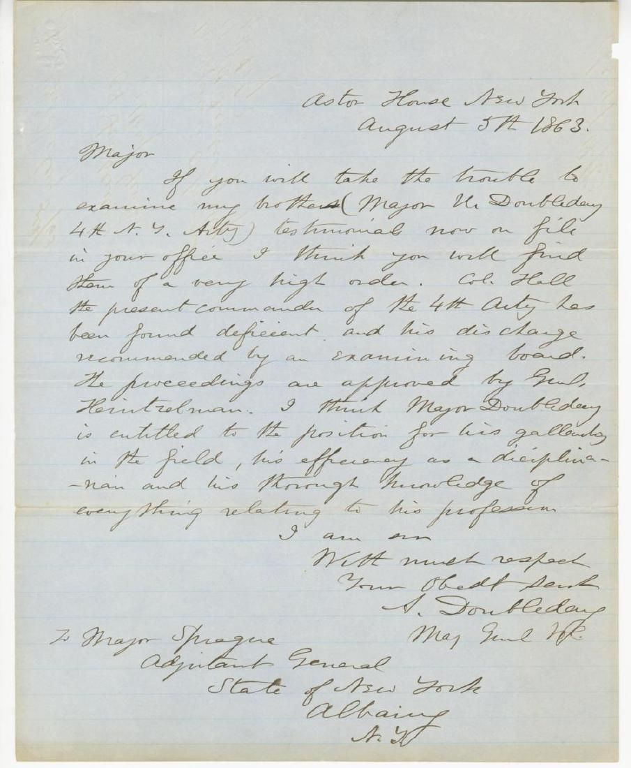 Abner Doubleday War Dated ALS with Great Content
