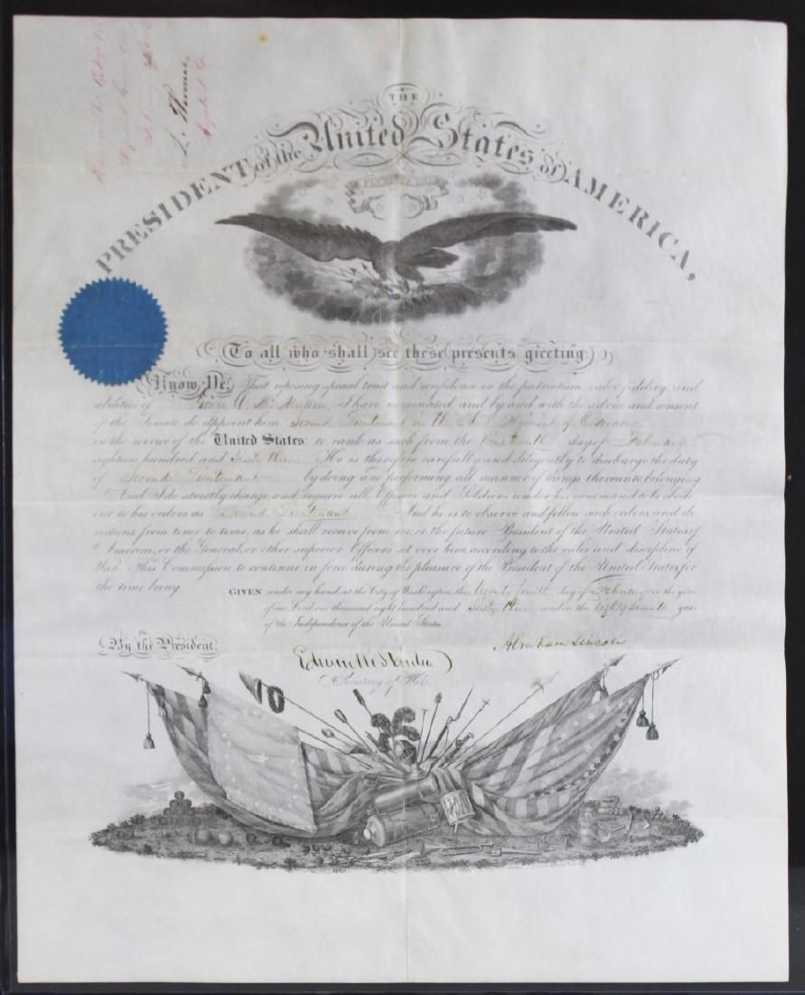 Abraham Lincoln Signed Civil War Military Appointment,