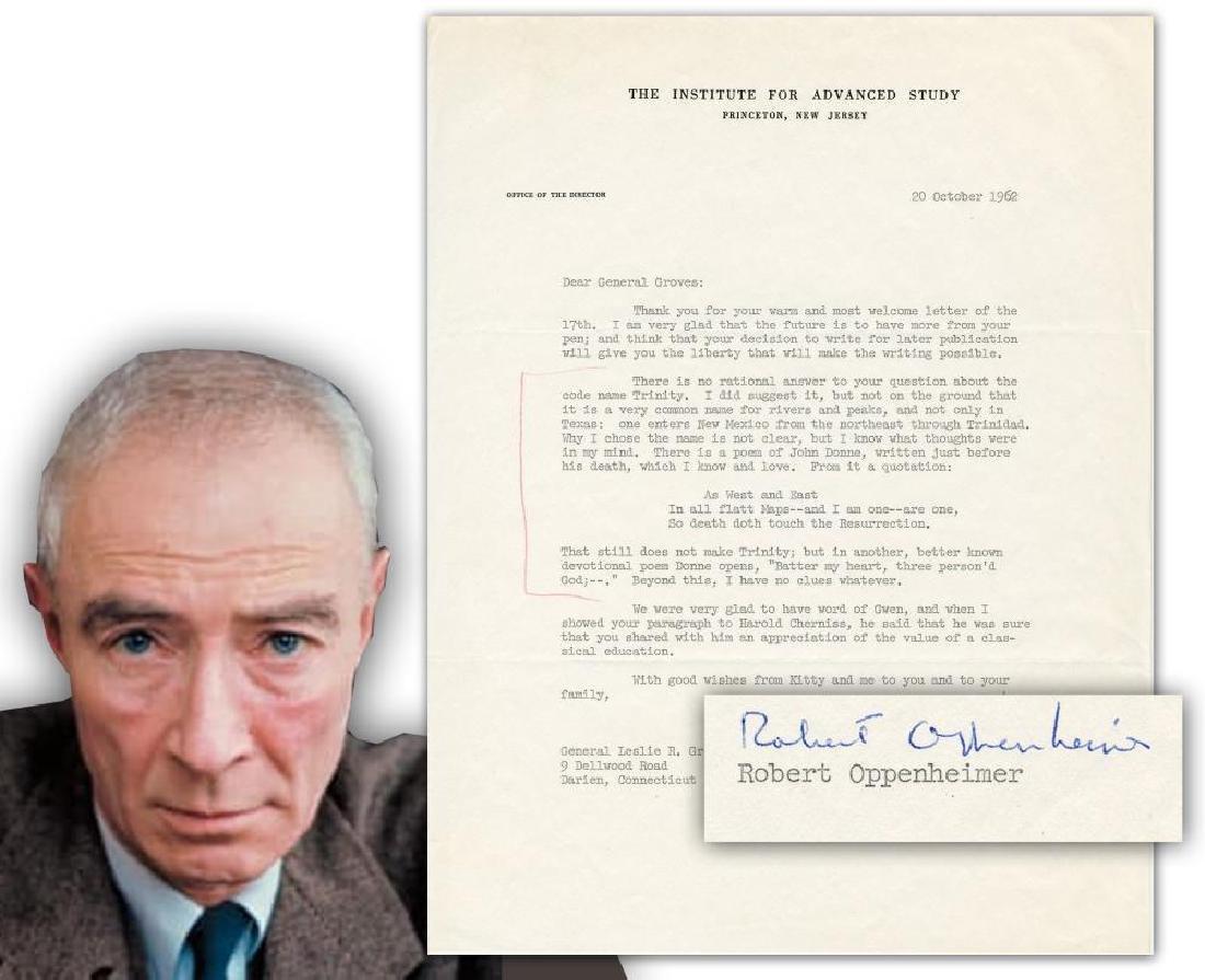 Oppenheimer to Groves Re: Origins of the Atomic Bomb &