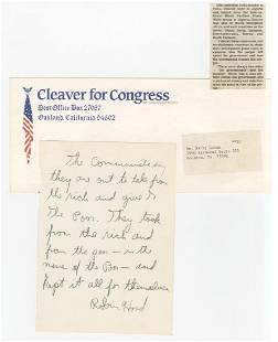 Eldridge Cleaver c 1975 revealing diary entry noting