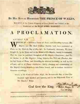 Handsome printed Proclamation signed in type by George