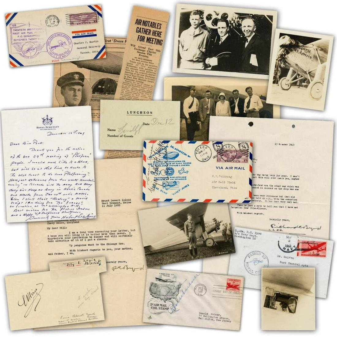 Aviation-Related Autographs, Sensational Dealers' Lot