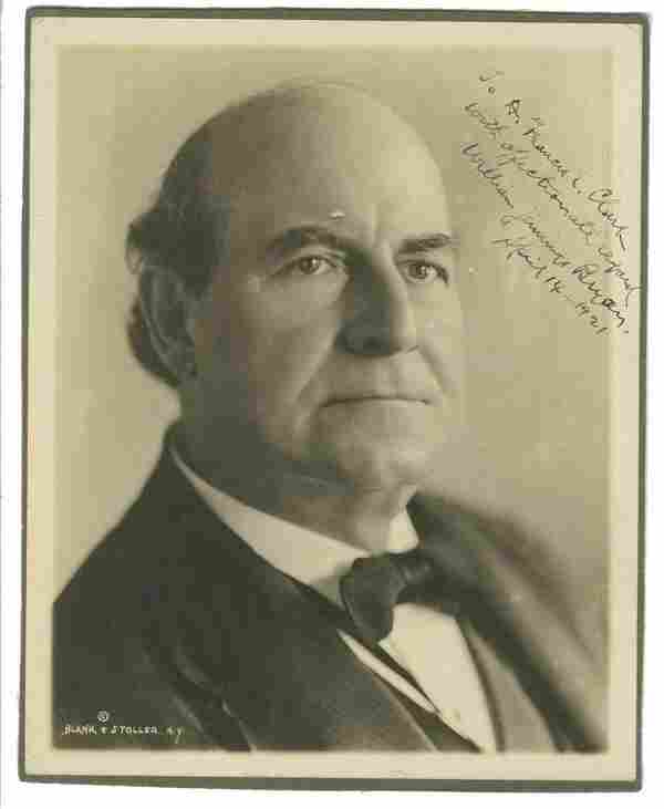 William Jennings Bryan Signed and Inscribed Photo.