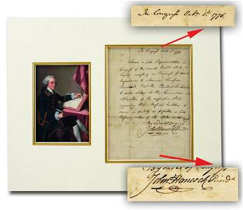 John Hancock in 1776 Signs Highly Important Resolution