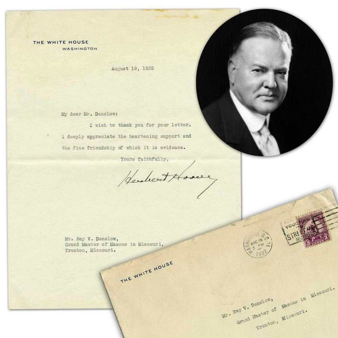 Herbert Hoover TLS to Grand Master of Masons in