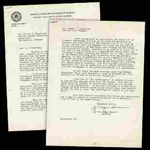J Edgar Hoover Great Letter Re Agent Going into the