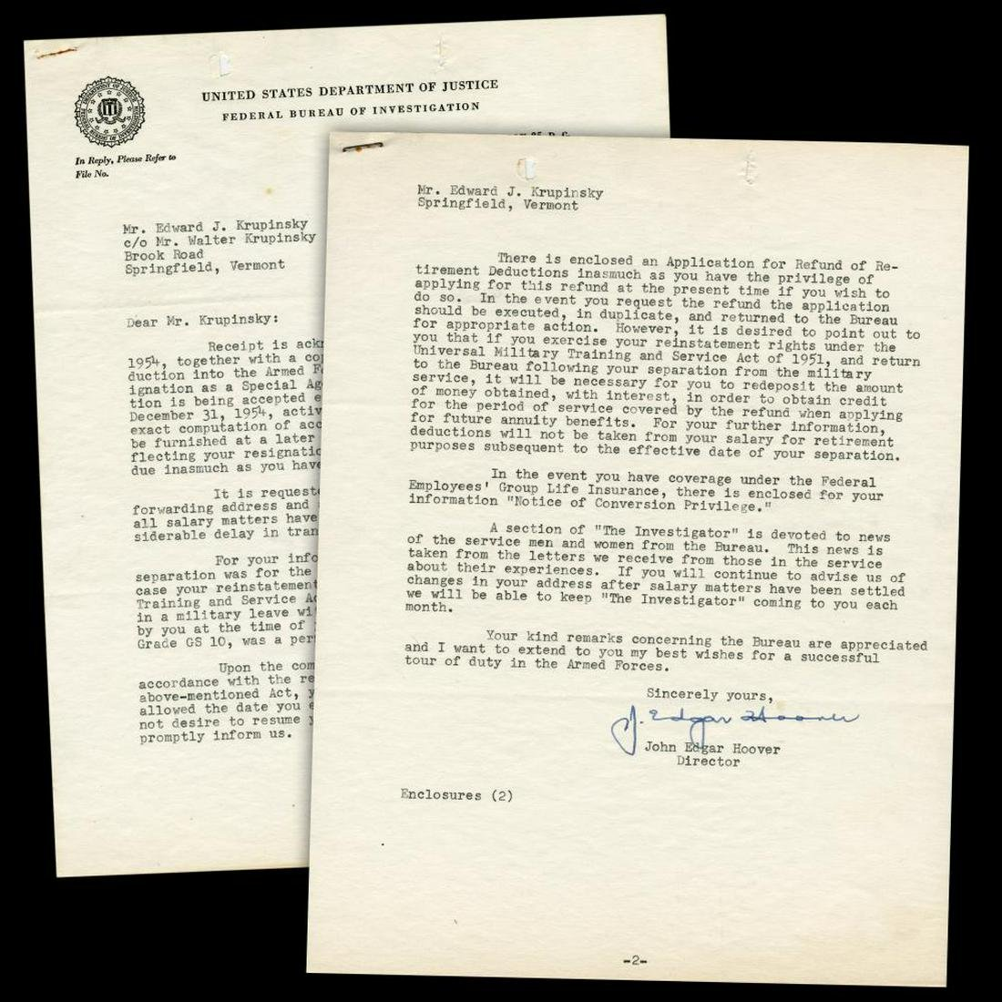 J  Edgar Hoover Great Letter Re: Agent Going into the