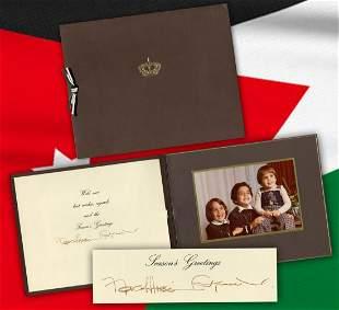 King Hussein I Queen Noor of Jordan Signed Holiday