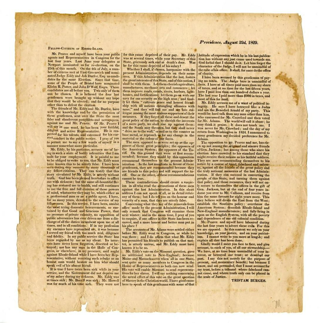 Andrew Jackson Related Political Letter