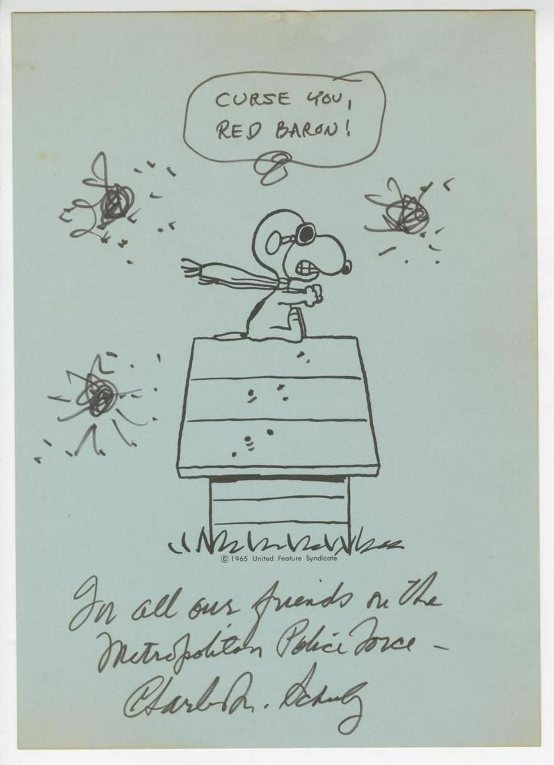 Snoopy as Red Baron, Signed and Inscribed by Charles