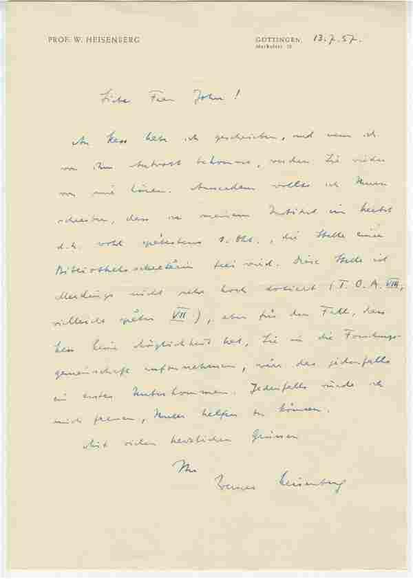 Werner Heisenberg Autographed Letter Signed