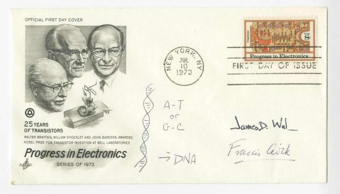 Watson & Crick, Signed First Day Cover W. Double Helix