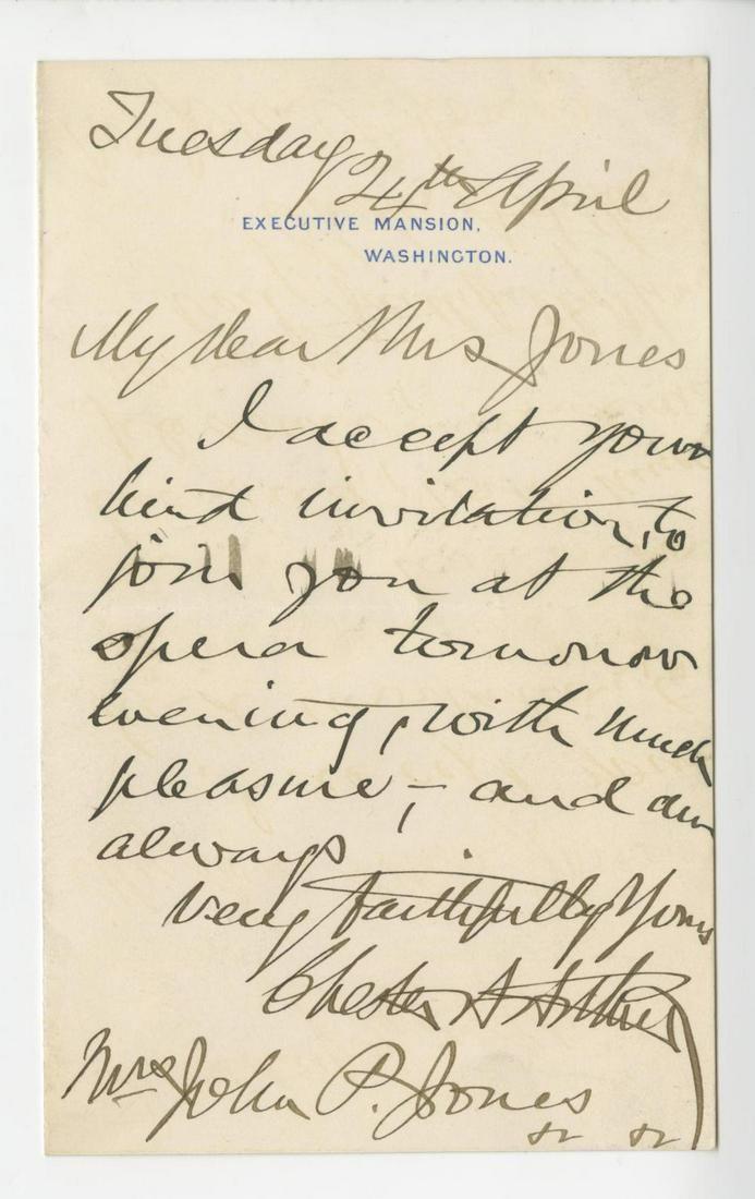 Chester Arthur Autograph Letter Signed as President