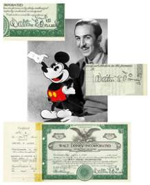 Walt Disney TWICE SIGNED, Pre-IPO Stock Cert, Possibly