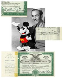 Walt Disney TWICE SIGNED, Pre-IPO Stock Cert, Possibly