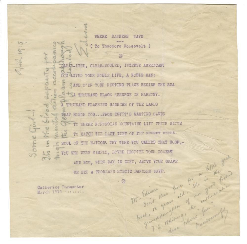 """Thomas Edison Autograph Note Re: """"Germ Plasm"""", Showing"""
