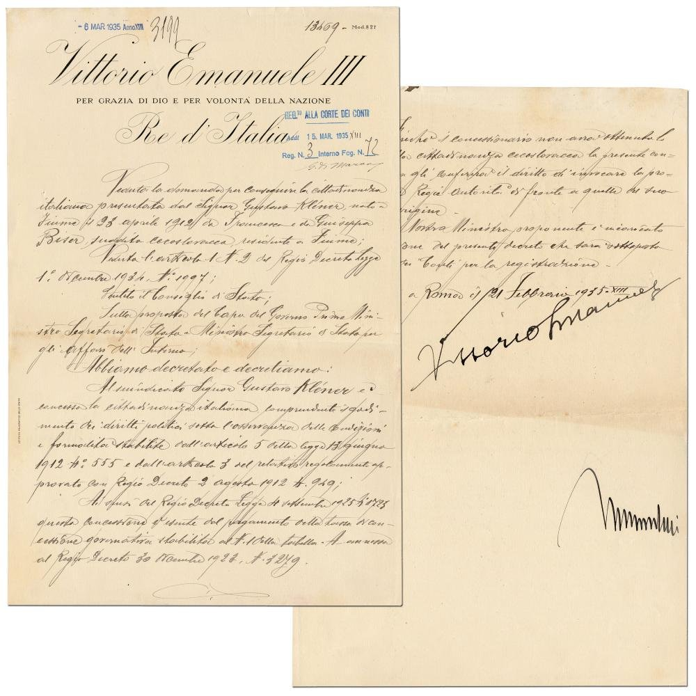 Benito Mussolini Signed Citizenship Document, with