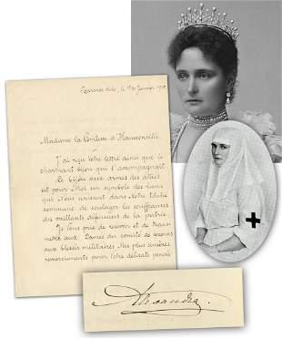 Tsarina Alexandra Rare War Dated LS Mentioning French