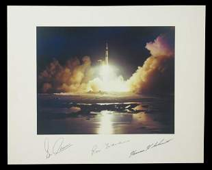 Apollo 17 NASA Photo Signed by Cernan, Evans, and