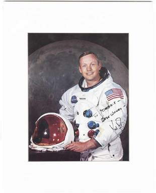 Neil Armstrong Signed & Inscribed Official NASA Photo,
