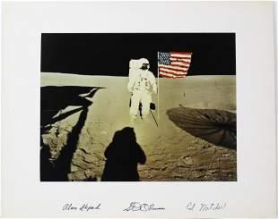 Alan Shepard, Stuart Roosa, and Edgar Mitchell Signed