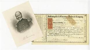 Ambrose Burnside 2x Signed Railroad Stock Certificate