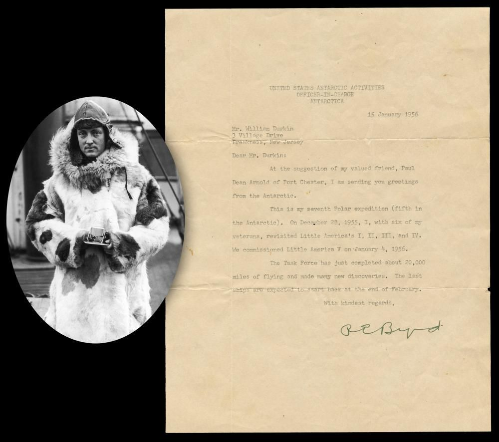 "Richard E. Byrd TLS: ""I am sending you greetings from"