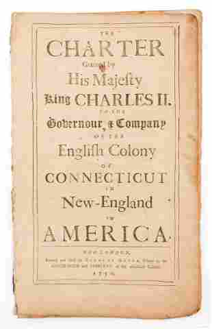 1750 Printing of the Royal Charter for CT Granted by
