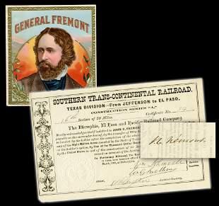 John C Fremont Signed Texas Railroad Certificate
