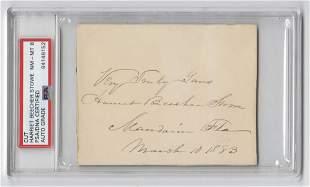 Harriet Beecher Stowe Signature PSADNA Encapsulated