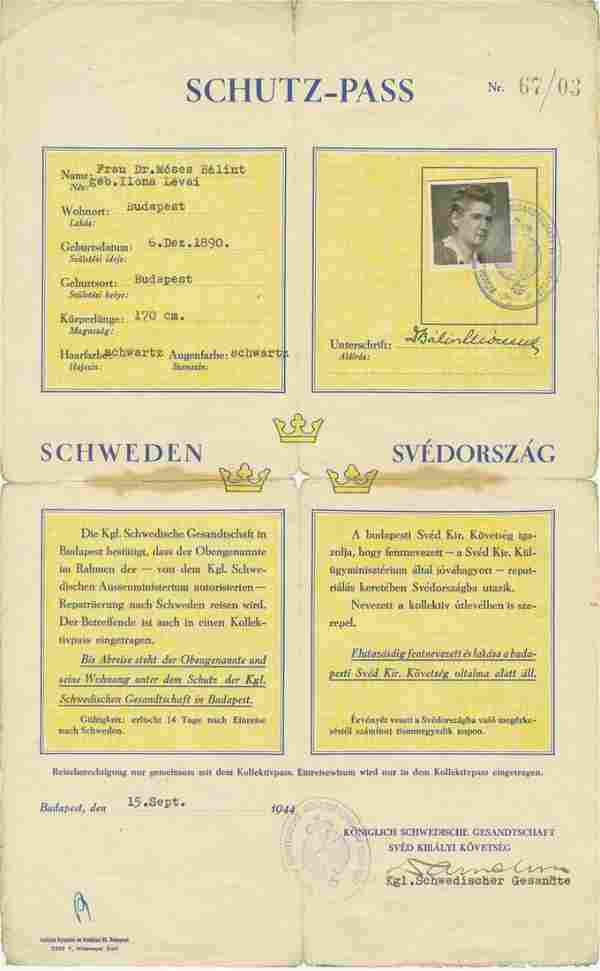 Exceedingly Rare Schutz-Pass Initialed by Swedish