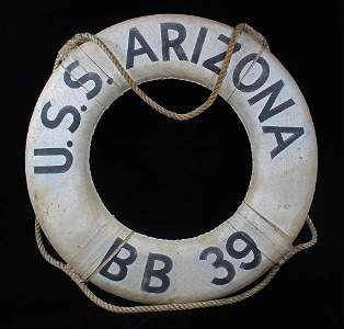 Pearl Harbor Life Ring from U.S.S. Arizona, All